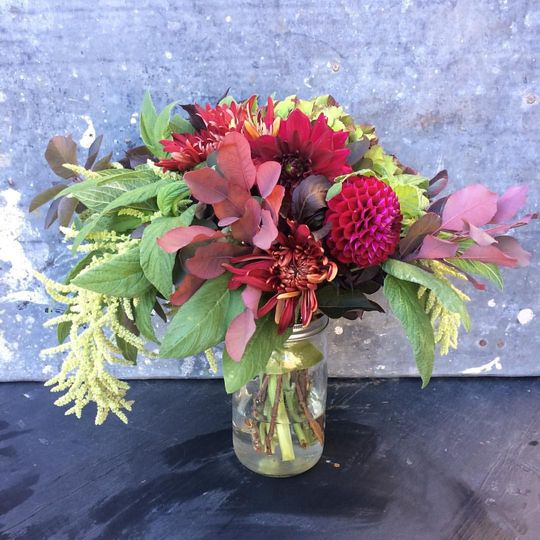 a dahlia and greens wedding bouquet for a romantic dawn elopement.