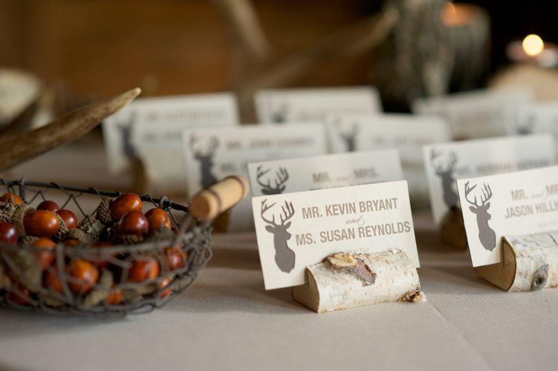 Rustic Birch Brand Escort Card Holders