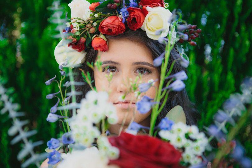 Bride + flowers.