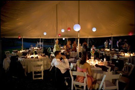 A reception in the front of our winery with our tents available for rent.
