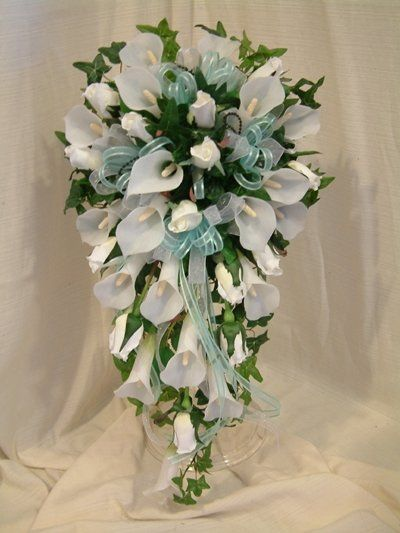 Our Most Popular Design Bridal Bouquet, Shown With David's Bridal Pool Blue Ribbons