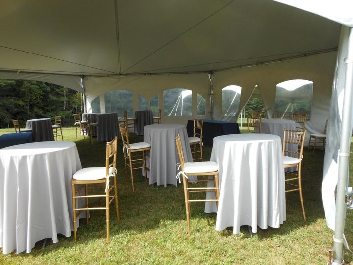 Reception tables under tent