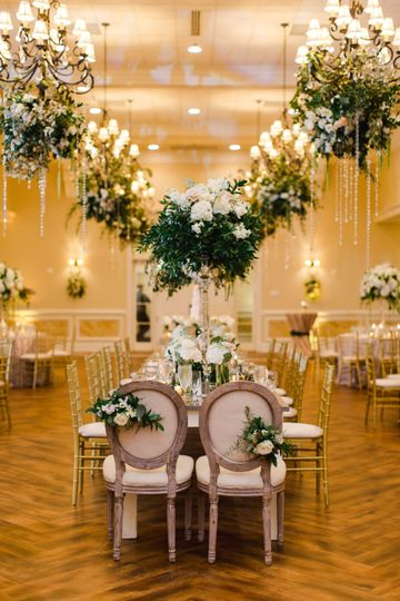 Sweetheart table with decors