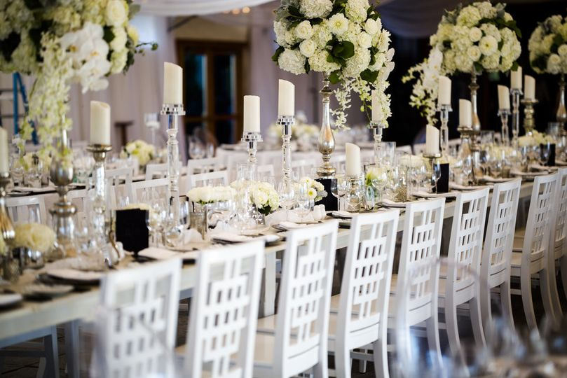 Table setting and raised centerpieces