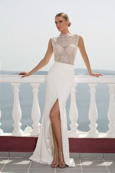 High leg slit wedding dress