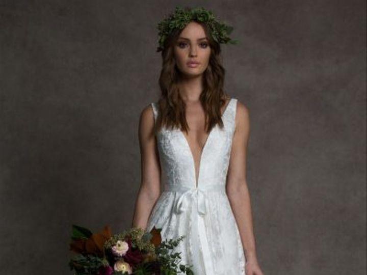 Tmx Romona New York Deep V Neckline Sleeveless Wedding Dress With Lace And Bow 33900796 400x600 51 16427 161185397247684 Jenkintown, Pennsylvania wedding dress