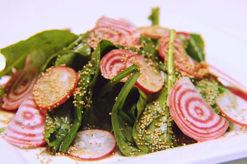 Amaranth and chiogga beet salad