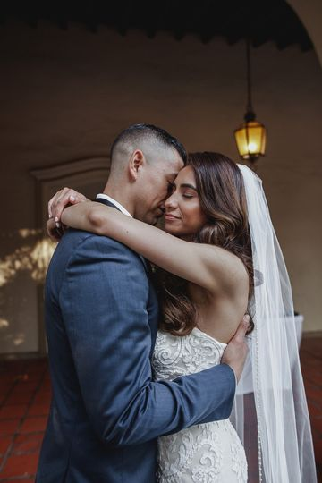 Embracing on their special day