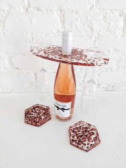 Crushed rose petal wine rack