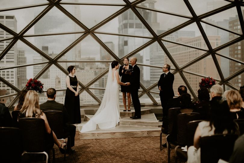 City skyline wedding