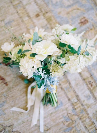 scabiosa, dusty miller and lisianthus from gardens