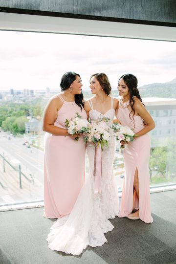 Bridesmaids and bridal bouquet