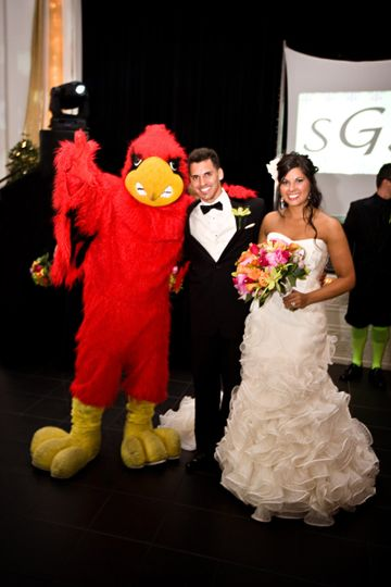 Mascot with the newlyweds