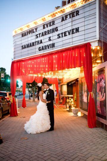 Newlyweds outside the venue