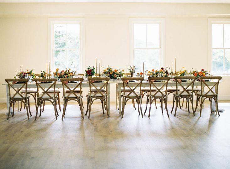 Farm table setup | Dimitri and Sandra Photography, Couture Events Design