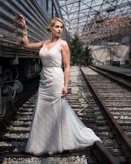 Standing by a train
