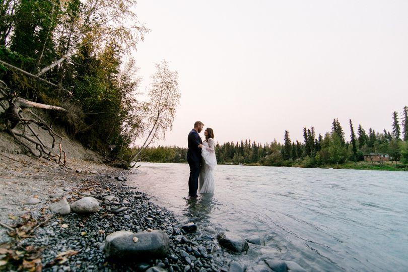 Wedding portrait on river