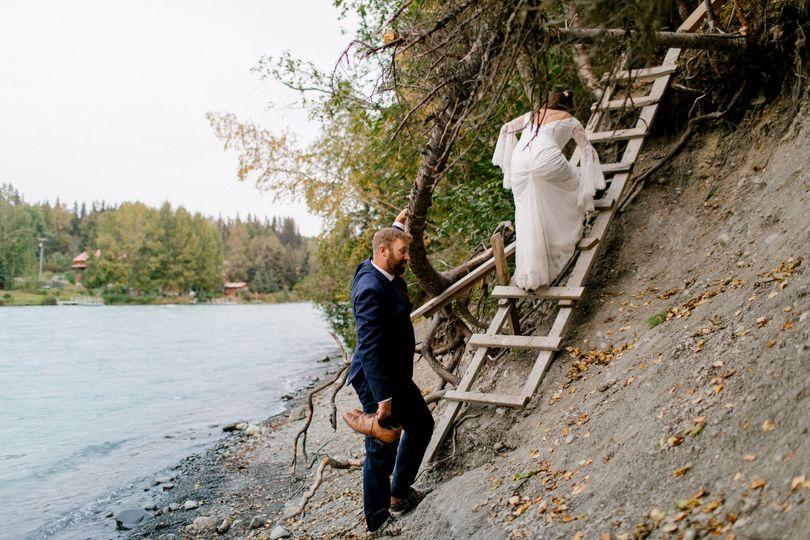 Bride climbing ladder