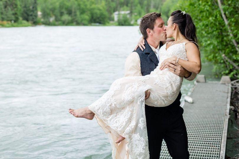 Wedding photo on the dock