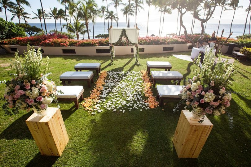 An outdoor wedding ceremony area