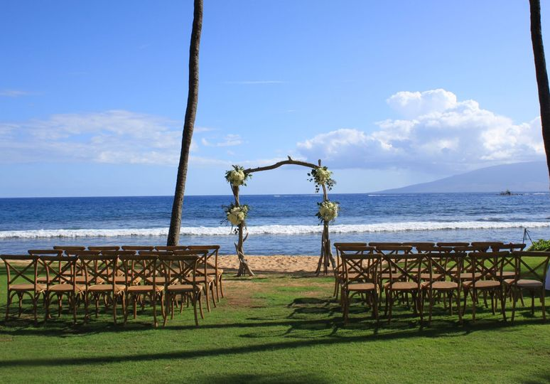 Wedding set-up by the beach
