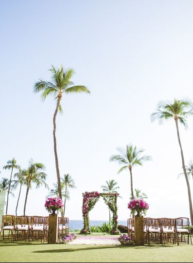 An outdoor wedding ceremony area