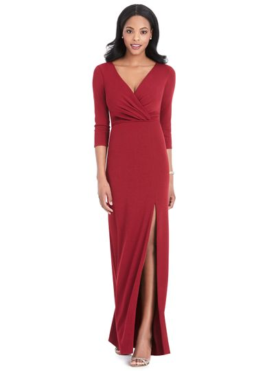 Sleeved dress with slit