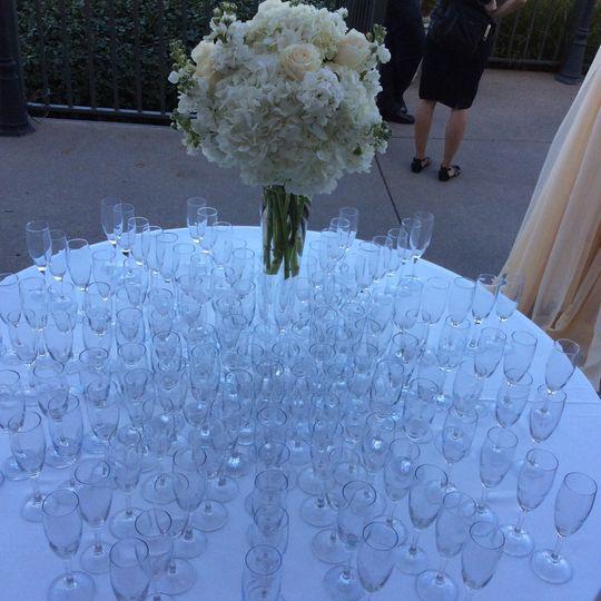 Table setup with glasses