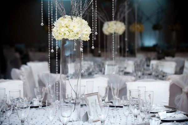 White Floral and Crystal centerpiece wedding reception