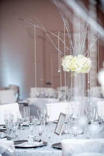 White Crystal Centerpieces wedding venue
