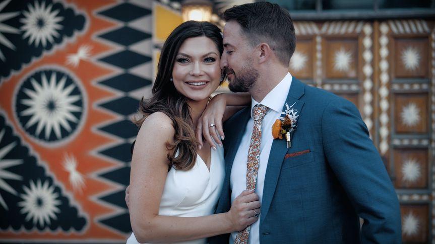 Couple and their boho wedding