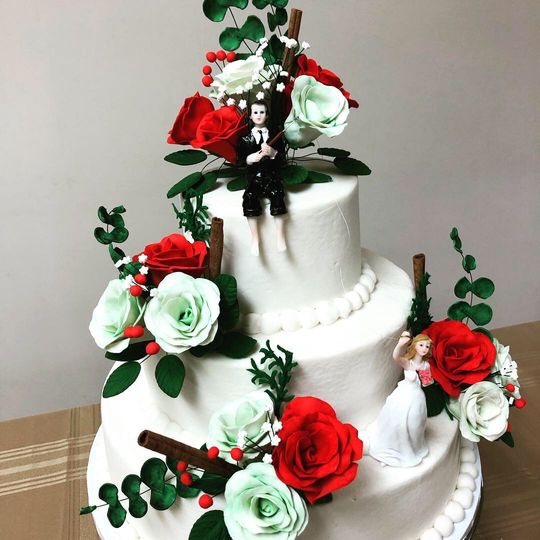 Green and red roses