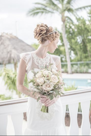 Bridal updo and bouquet