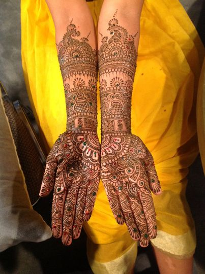 Henna pattern on the hands and arms