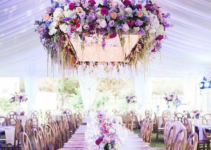 Violet and pink arrangements