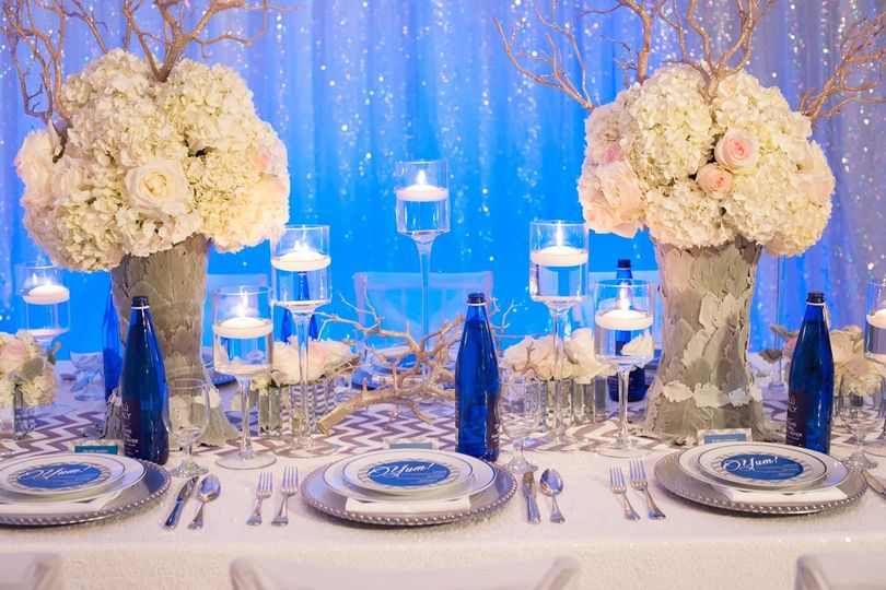 Cobalt and silver tablescape