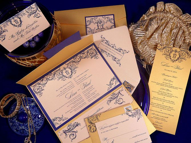 Gold and blue invitations