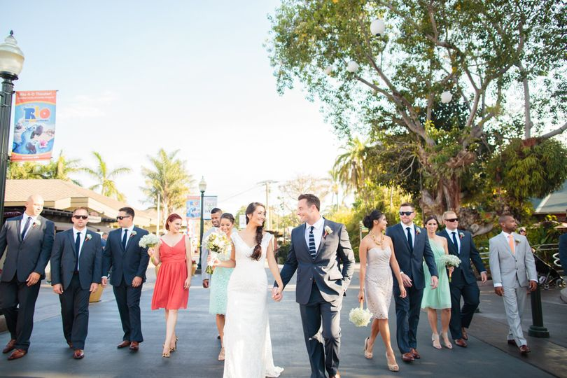 Bridal party walk on the San Diego Zoo front plaza