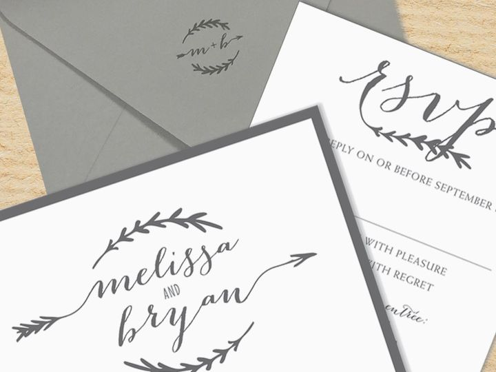 Tmx 1478716038140 Arrow Invite Contemporary East Bridgewater wedding invitation