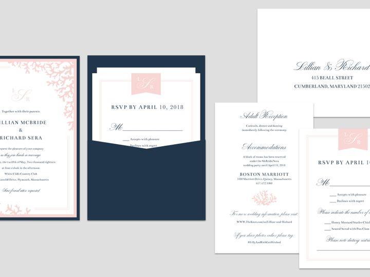 Tmx 1503348653060 Coral Invite Mock Up East Bridgewater wedding invitation