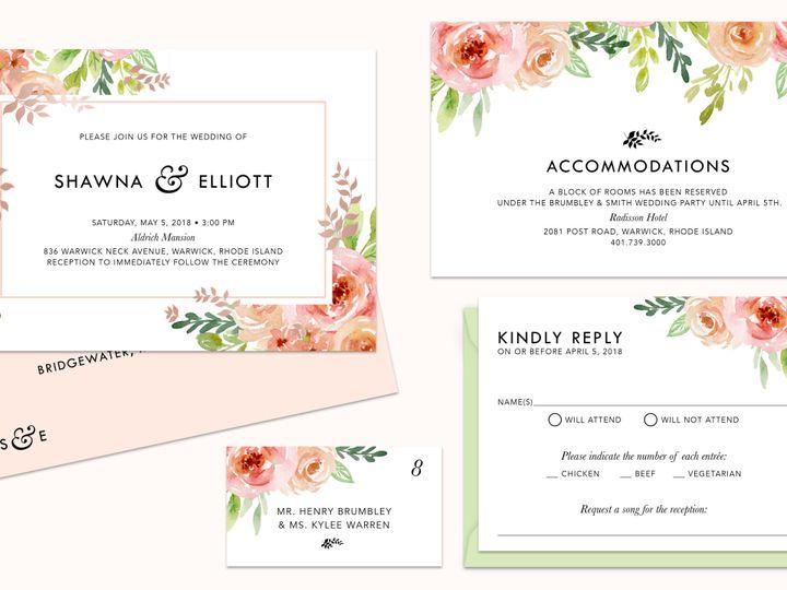 Tmx 1503348797446 Shawna Brumbley Floral Mock Up East Bridgewater wedding invitation