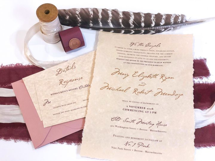 Tmx Hfi Mary Beth Ryan Colonial Declaration Copper Foil Dusty Rose Burgundy Wedding Invitation 1 51 365627 East Bridgewater wedding invitation
