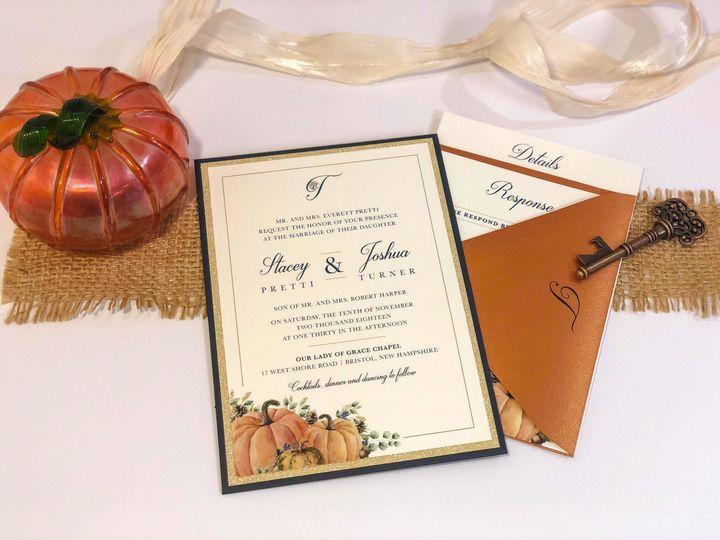 Tmx Hfi Stacy Pretti Autumn Fall Pumpkins Imperial Blue Glitter Gold Copper Wedding Invitation 2 51 365627 East Bridgewater wedding invitation