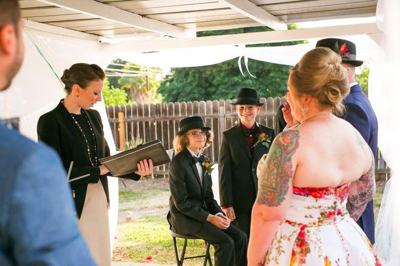 Rev. Krista Messam uniting the couple