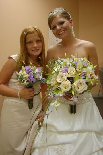 A free form bouquet with orchids and roses etc of different colors