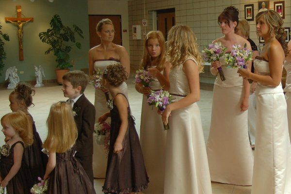 Large bridal party at the Prince of Peace Church in Lake Villa, IL.
