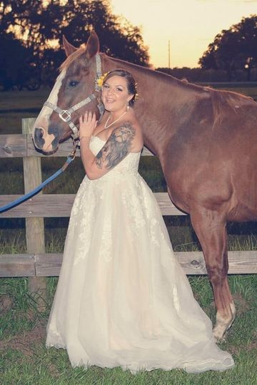Bride and rescued horse