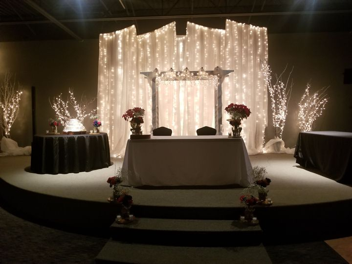Cheyenne mountain room stage & waterfall curtains