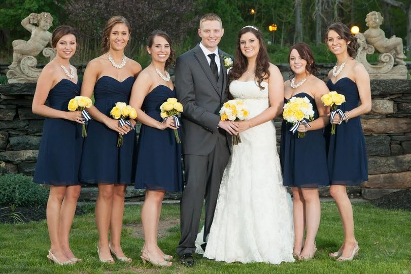 Newlyweds and bridesmaids