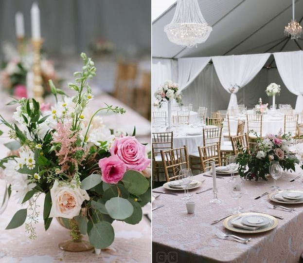 Romantic and elegant white, blush, gold and grey wedding